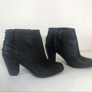 Jessica Simpson Black Leather Ankle Boots Size 6.5